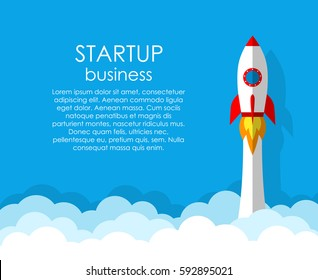 Startup business project, rocket flying above clouds. Vector illustration.