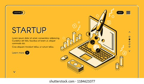 Startup business project vector illustration in thine line isometric design on yellow halftone background. Rocket launch start up creative idea and computer with money and commerce diagrams