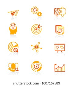Startup business red-orange icons from idea to IPO