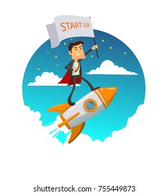 Startup Business. Success businessman on a rocket with start up flag. Vector modern flat design illustration. Full editable for animation.