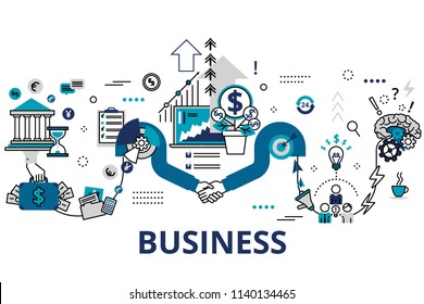 Startup business and teamwork concept horizontal banner in flat line stile. Creative vector illustration with a lot of business icons. Can be used for web, graphic design and brochure.