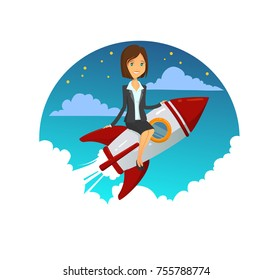 Startup Business woman. Success business lady sitting on a rocket. Vector modern flat design illustration. Full editable for animation.