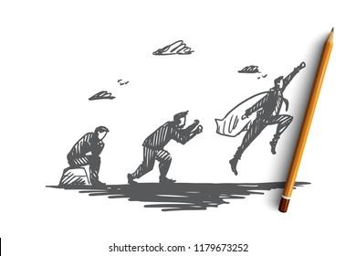 Start-up, businessman, superhero, idea, development concept. Hand drawn man in superhero cape moving forward concept sketch. Isolated vector illustration.