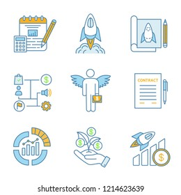 Startup color icons set. Budget, startup launch, prototype, business plan, angel investor, contract, IPO, seed money, profit growth. Isolated vector illustrations