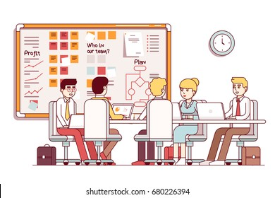 IT startup company boardroom executive planning meeting. Interior with SCRUM wall white board, table, laptops. Business people talking in conference room. Flat style thin line vector illustration.