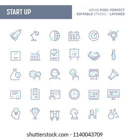 Startup company - simple outline icon set. Editable strokes and Layered (each icon is on its own layer with proper name) to enhance your design workflow.