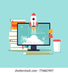 Start-up, computer, books, rocket. Flat design vector illustration.