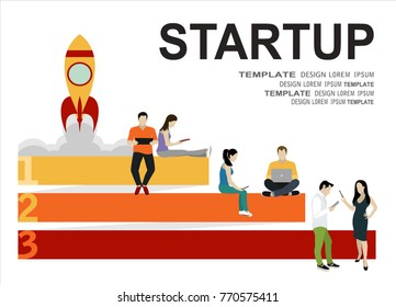 Startup Concept Flat Illustration Of Business People Working As Team To Launch The
