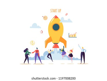 Startup Concept with Jumping Happy Characters. Flat Business People Launching Rocket. New Project Successful Start Up. Vector illustration