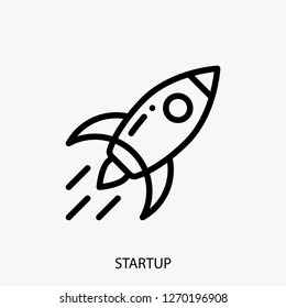 Startup concept line icon. Simple element illustration. Startup concept outline symbol design. Can be used for web and mobile UI/UX . Modern vector style.