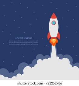 Startup concept with rocket launch. Business banner with spaceship. Development and advanced project. Vector illustration.