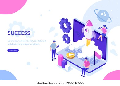 Startup concept with rocket launch. Can use for web banner, infographics, hero images. Flat isometric vector illustration isolated on white background.