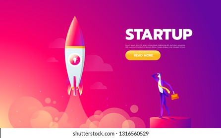 Startup Concept. Rocket launch icon - can be used to illustrate cosmic topics or a business startup, launching of a new company