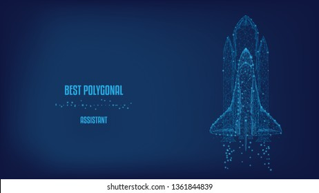 Startup concept. Shuttle launch from triangles and luminous points. Background of beautiful dark blue night sky. Vector Polygonal illustration. Low poly.