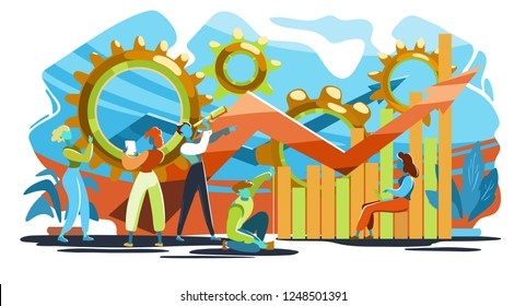 Startup data analytics. Diverse group of people working on a new project. Data visualization technology and marketing concept. Vector Illustration