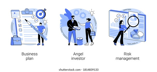 Startup development abstract concept vector illustration set. Business plan, angel investor, risk management, entrepreneur, fundraising and online crowdfunding, investment capital abstract metaphor.