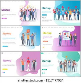 Startup development of new business project vector. People with presentation, success and achievement of goals, launching of flying rocket. Website or webpage template, landing page flat style