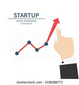Startup. Diagram up. Businessman raises hand financial chart. Vector illustration flat design. Isolated on white background. Improve profit