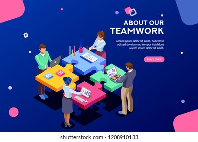 Startup employees. Goal thinking, infographic of puzzle. Cooperation construction by agency group to create a team. Concept for webdesign. White isolated concept with characters flat isometric Vector