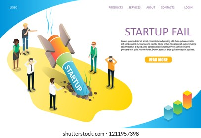 Startup fail landing page website template. Vector isometric illustration. Business failure, rocket crash concept.