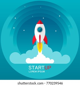 Startup - flat design. Rocket launch and smoke. Startup project concept.  Vector illustration. EPS10
