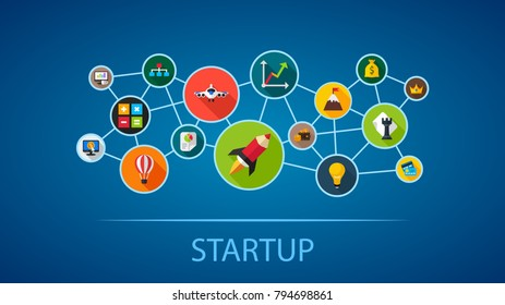 Startup flat icon concept. Vector illustration. Element template for design.