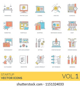 Startup flat vector icons. Workspace, pay per click, coding, analysis, schedule, marketing, portfolio, responsive design, shop, photography, apps development, co-founder, prototype, launch product.