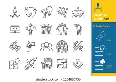 Startup Icon Set. 20 Vector illustration elements with editable stroke for business, career, motivation, success, entrepreneurship, teamwork