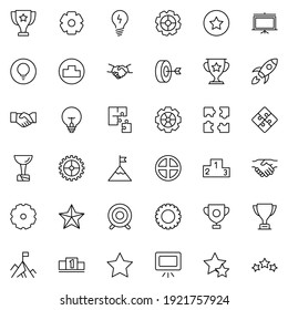 Startup icon set. Collection of high-quality black outline logo for web site design and mobile apps. Vector illustration on a white background.