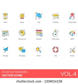 Startup icons including award, badge, flag, graduate, caring people, laptop, working time, schedule, coffee break, speed, message, search, help, setting.