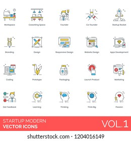 Startup icons including workspace, coworking space, founder, branding, responsive design, website, apps development, coding, prototype, packaging, launch product, marketing, feedback, think big, learn