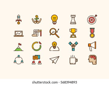 Startup icons set vector. thin line.