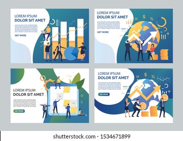 Startup illustration set. Team sticking notes on planning board, constructing diagrams. Business concept. Vector illustration for topics like finance, investment, marketing