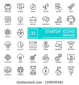 Startup with inscription line icon set, business symbols collection, vector sketches, logo illustrations, entrepreneur signs linear pictograms package isolated on white background, eps 10