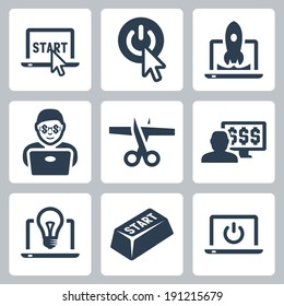 Start-up and internet business vector icons set