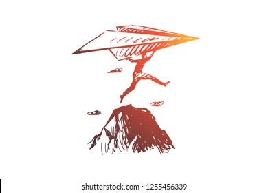 Start-up, inventor vector concept. Businessman with paper airplane jumping on rocks. Hand drawn sketch isolated illustration