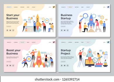 Startup landing pages. Web business sites design templates office managers director successful people launch startup vector symbols