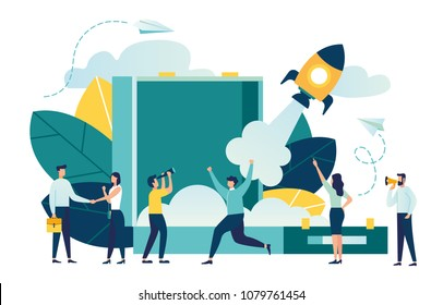 startup launch of a new business in a young emerging company. metaphor of rocket launch into space from the site. vector business illustration in a flat colorful cartoon style