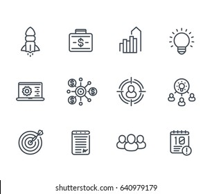 startup line icons, product launch, funding, initial capital, contract, ipo, target market, audience targeting