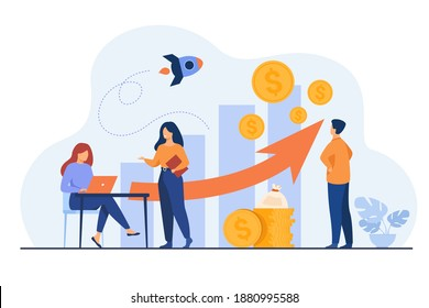 Startup managers presenting and analyzing sales growth chart. Group of workers with heap of cash, rocket, bar diagrams with arrow and heap of money. For business success, marketing, profit concepts