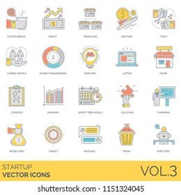 Startup modern icon set. Coffee break, profit, franchise, venture, fight, caring people, money management, think big, laptop, store, strategy, diagram, short term goals, solution, target, employee.