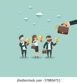Startup monetization strategies. Businessmen characters have an idea for startups. Crowd of businessmen showing their ideas. Competition of Business ideas. Hackathon. Colorful vector flat illustration