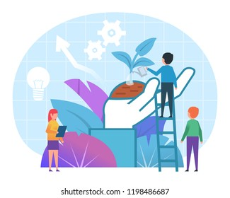 Startup, new business growth concept. Small people stand near big hand holding small sprout. Poster for presentation, web page, banner, social media. Flat design vector illustration
