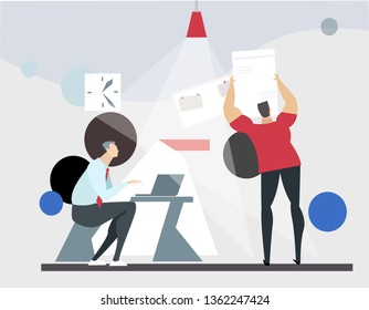 Startup, new business project concept. People working together in office. Teamwork. Illustration for the web page, banner, social media, presentation. Flat design, vector