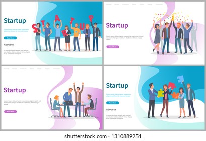 Startup new project beginning vector, launching innovative solution. Conference with brainstorming and finding decision, success in office, jigsaw. Website or webpage template, landing page flat style