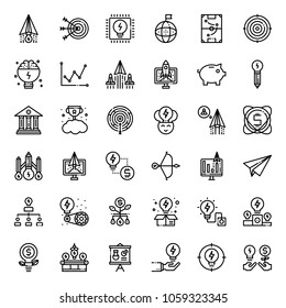 Startup outline icon set, business concept, isolated on white background