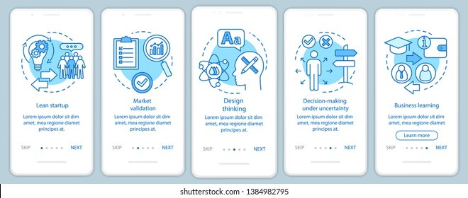 Startup principles onboarding mobile app page screen with linear concepts. Building business walkthrough steps graphic instructions. UX, UI, GUI vector template with illustrations