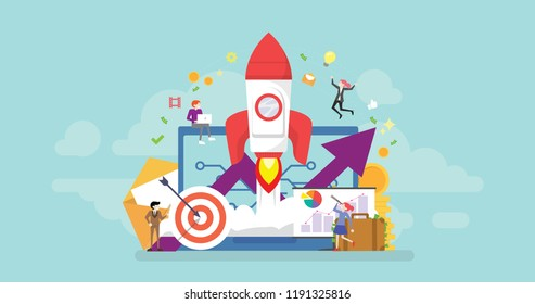 Startup Product Launch Tiny People Character Concept Vector Illustration, Suitable For Wallpaper, Banner, Background, Card, Book Illustration, And Web Landing Page