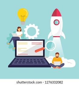 Startup, programmer, business project, idea, project management. Flat design vector illustration - Vector illustration