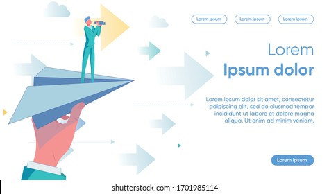 Startup Project Launching and Choosing Company Development Strategy and Direction. Businessman Character on Flying Paper Plain as Business Growth and Evolution Metaphor. Flat Vector Illustration.